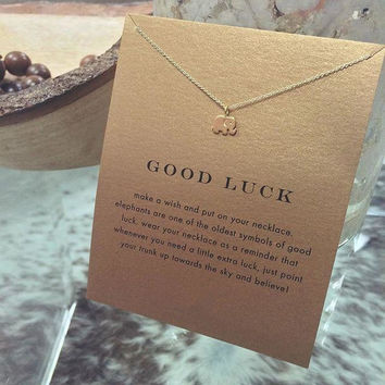 BUY ONE GET ONE FREE Good Luck Gold Dipped Lucky Elephant Necklace With Card