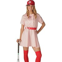 A League of Their Own Rockford Peaches AAGPBL Baseball Womens Costume Dress Movie Cosplay Costume Set(dress+belt+hat)