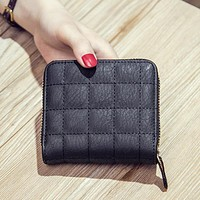 Women Short Wallets PU Leather Female Plaid Purses Clutch Card Holder Wallet Fashion Woman Small Zipper Wallet With Coin Purse