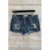 Mid Rise Boyfriend Denim Shorts- Dark Wash