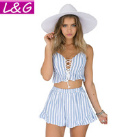 Elegant Women Rompers Jumpsuit 2016 Hot Selling Two Pieces Outfits Bodysuit  Sleeveless Lace Up Sexy Club Bodycon Playsuit 80162