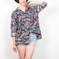 Vintage 80s Shirt Black Neon Rainbow Abstract Print New Wave Mod 1980s Boyfriend Shirt Geometric Saved By the Bell Print Blouse Top L Large