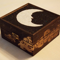Celestial Wood Burned Box of Crescent Moon and by TheForestNymph