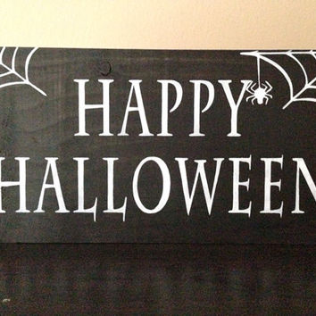 Happy Halloween Sign, Stained and Hand Painted, Customizable, Home decor