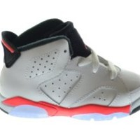 Air Jordan 6 Retro (BT) Baby Toddlers Basketball Shoes White/Infrared-Black 384667-123 (6 M US)