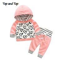 Cute Infant born Baby Girl Clothes Hooded Sweatshirt Striped Pants Outfit Cotton Baby Tracksuit Set