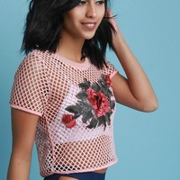 Fishnet Floral Applique Short Sleeve Crop Top