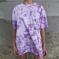 New fashion tie-dye loose short-sleeved casual T-shirt skirt purple
