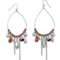 Pear Shape Drop Fashion Earrings with Red Beads