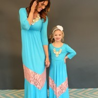 3/4 Sleeve Ocean Blue and Apricot Lace Dress - Ryleigh Rue Clothing by MVB
