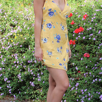 Yellow Floral Print Wrap Sundress