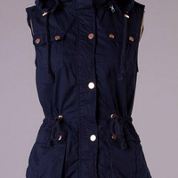 Military Style Faux Fur Lined Vest - Navy