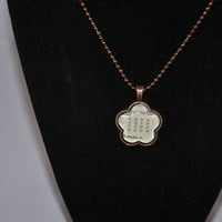 Word square flower shaped glass tile vintage dictionary necklace, antique copper, ball chain