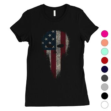 Vintage American Skull Womens 4th of July Outfit Cute Gifts T-Shirt