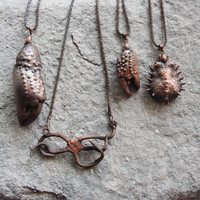 Electroformed Crab claw Necklace Wonder Cabinet Necklace Nautical Beach Finding