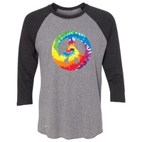 "Zexpa Apparelâ""¢ Peace Sign TIE DYE Hippie 3/4 Sleevee Raglan Tee Politics Graphic Retro Tee"
