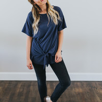 Go-To Knot Tee in Navy