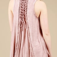 Lace-Up Back Babydoll Top - Dusty pink