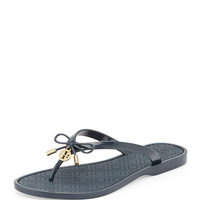 Jelly Bow Logo-Charm Thong Sandal, Tory Navy