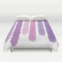 Purple Stripes Bed Cover - Duvet Cover Only - Bed  Spread - Comforter - Purple Stripes Art - Made to Order