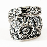Antique Wild Flower Spoon Ring By Kirk Stieff in Sterling Floral Silver Spoon, Handmade & Adjustable to Your Size (2121)