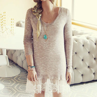 Lace Cactus Dress in Taupe