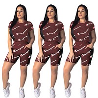 Champion Fashion New More Letter Print Sports Leisure Top And Short Two Piece Suit Red