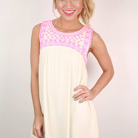 Seaside Romance Embroidered Shift Dress in White
