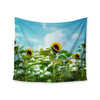 """Sylvia Cook """"Sunflower Field"""" Blue Green Wall Tapestry"""