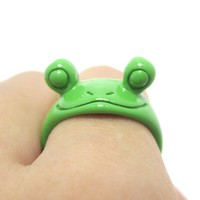 Googly Eyed Frog Toad Animal Wrap Ring in Green | US Sizes 5 to 8