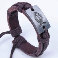 Men's Christian Jesus Fish Symbol Charm on Handmade Leather Bracelet with Cord Rope Accents