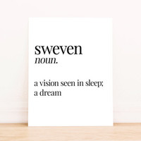 Printable Art Sweven Definition Bedroom Typography Poster Apartment Art Home Decor