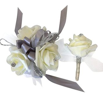 Wrist Corsage and Boutonniere Set - Ivory Foam Roses With Tulle *Pick Ribbon Color*