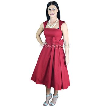 50's Rockabilly Vintage Red Belted Bow Accent Flare Midi Party Dress