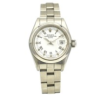 Rolex Ladies Oyster Date Watch in Stainless Steel Roman White Dial 69160