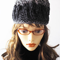 Chunky  knit hat / Charcoal gray toque / Knit grey cloche / Crocheted winter hat / Teen girl hat / Womans warm crown / Tall hat / OOAK cap