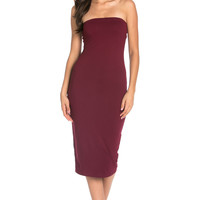 Burgundy Choker Neck Midi Dress