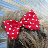 Rockabilly Pin up girl RED & WHITE Polka dot hair bow on clip