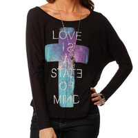 Papaya Clothing Online :: LOVE IS STATE OF MIND CROSS TOP
