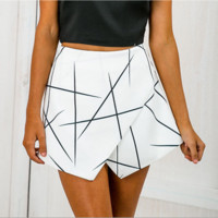 Fashion Sexy Geometric print irregular shorts