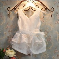 Adorable Toddler Girls Layered Basket Weave Romper Suit