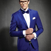 Men's Custom Made Royal Blue Notched Lapel Slim Fit Two Button Groomsmen Suit