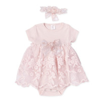 Baby Girl Skirted Bodysuit Pink, Organza Pink Lace Bodysuit, Newborn Take Home Outfit with Gathered Lace Bow Headband, TesaBabe, Tesa Babe