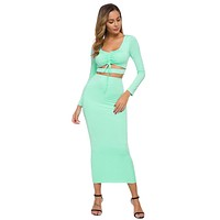 fhotwinter19 new hot sale fashion women's two-piece long sleeve long sleeve bag hip long skirt