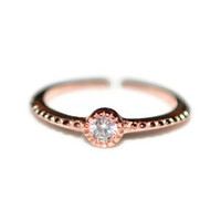 Rose Toe Ring with Cubic Zirconia CZ - Sterling Silver Rose Gold Plated Toe Ring with Clear Cubic Zirconia