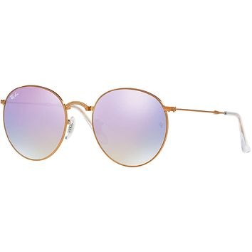 Ray Ban Round Metal Folding Sunglass Shiny Bronze, Gradient Lilac Flash Mirror 3532 19