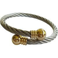 Stainless Steel Twisted Cable Cuff Bracelet Gold Plated Tips