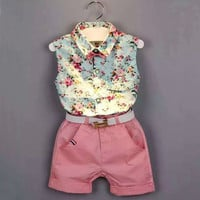 kids clothing  Summer style new clothing Baby Girl's clothing sets Fashion Children Sleeveless floral shirt + shorts