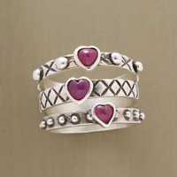 RUBY HEARTS RING TRIO - Stack - Rings - Jewelry - Categories   Robert Redford's Sundance Catalog