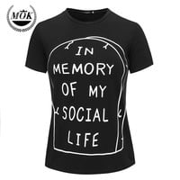 In Memory of My Social Life T-Shirt Pastel Goth Grunge Goth Tumblr Anti Social Kawaii Internet Hipster Rip Punk Indie Cute Emo